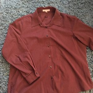 Foxcroft Maroon button down blouse